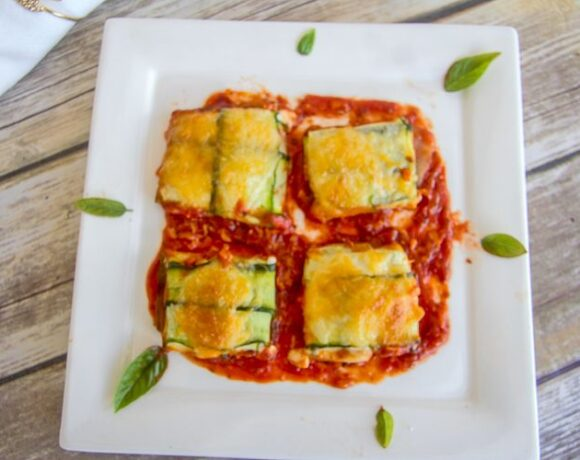 zucchini parcels in a tomato sauce