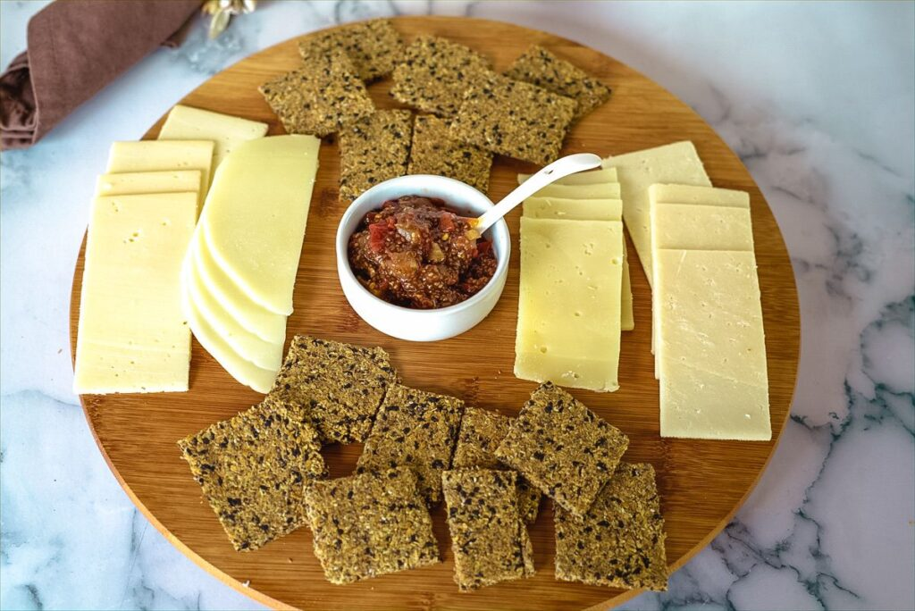 chia jam with cheese and crackers