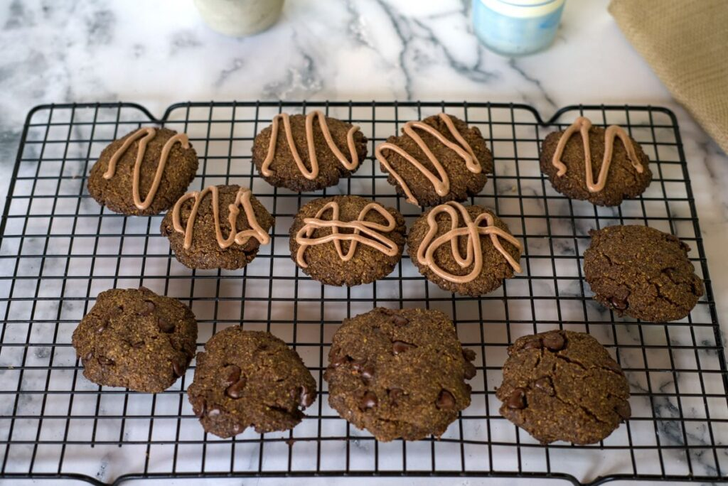almond butter cookies on a cooling tray