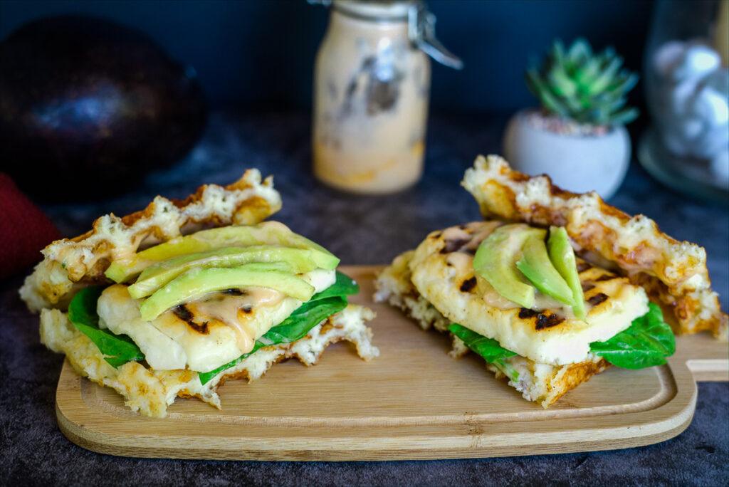 halloumi avocado sandwich with a chaffle