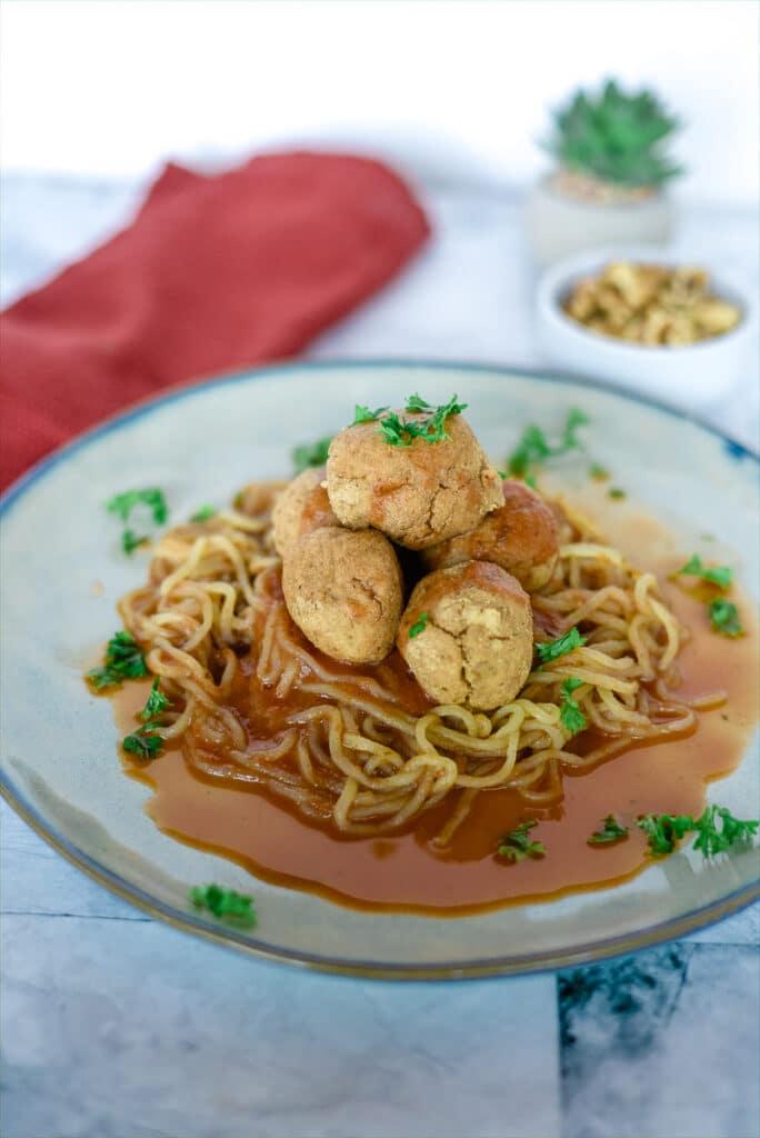 tofu walnut balls on low carb noodles