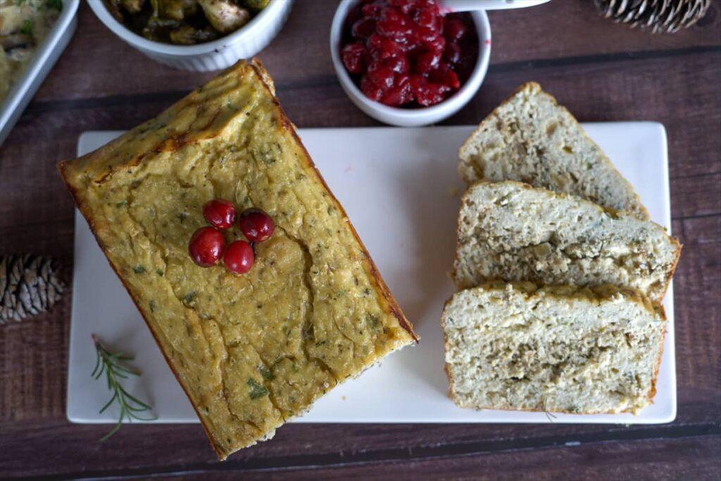 cauliflower loaf served sliced