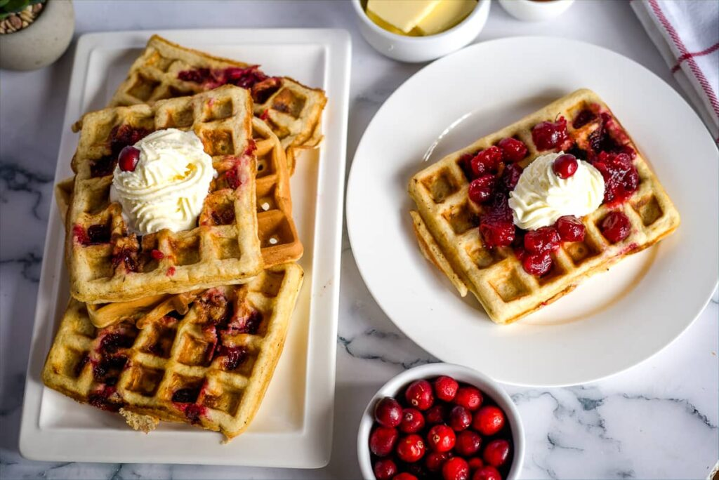 soft waffles with cranberries
