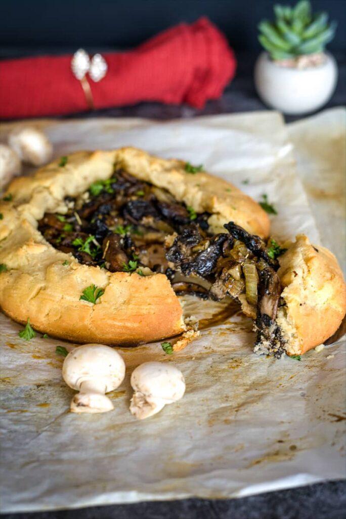 mushroom galette in gluten free pastry