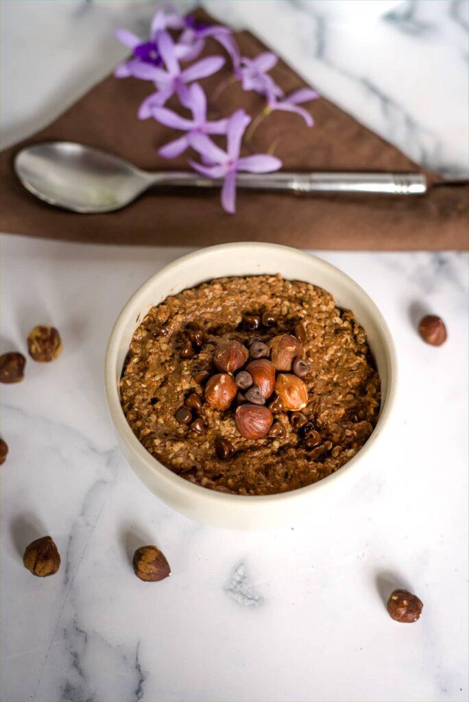 Chocolate hazelnut hemp seed oatmeal