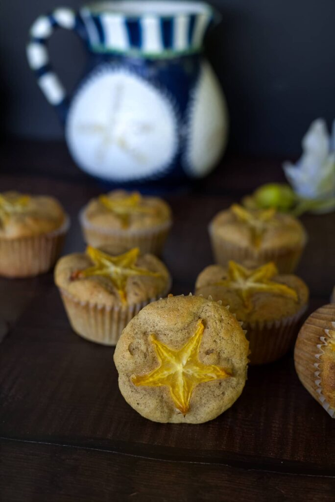 muffins with a star fruit topping