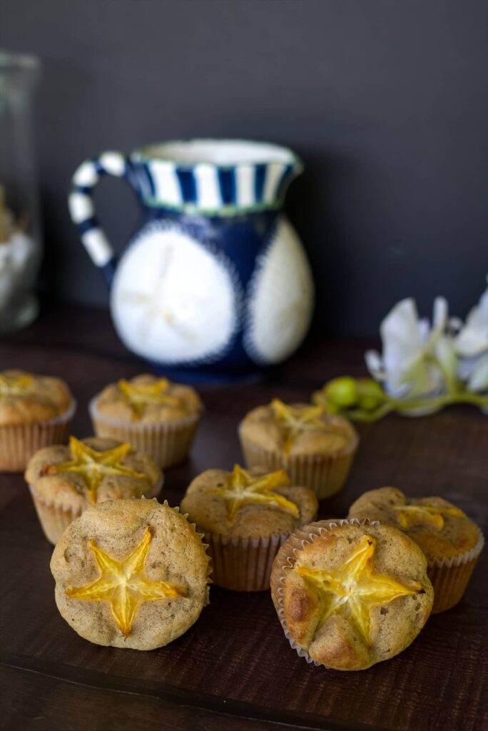 muffins with star fruit toppings