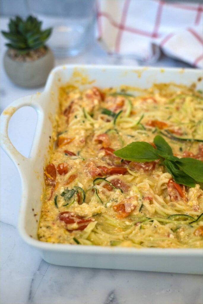 zucchini noodles in a creamy feta sauce