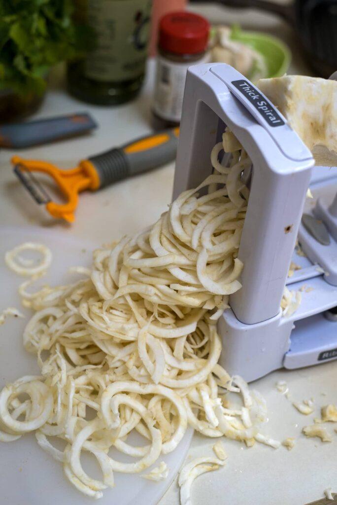celery noodles in spiralizer
