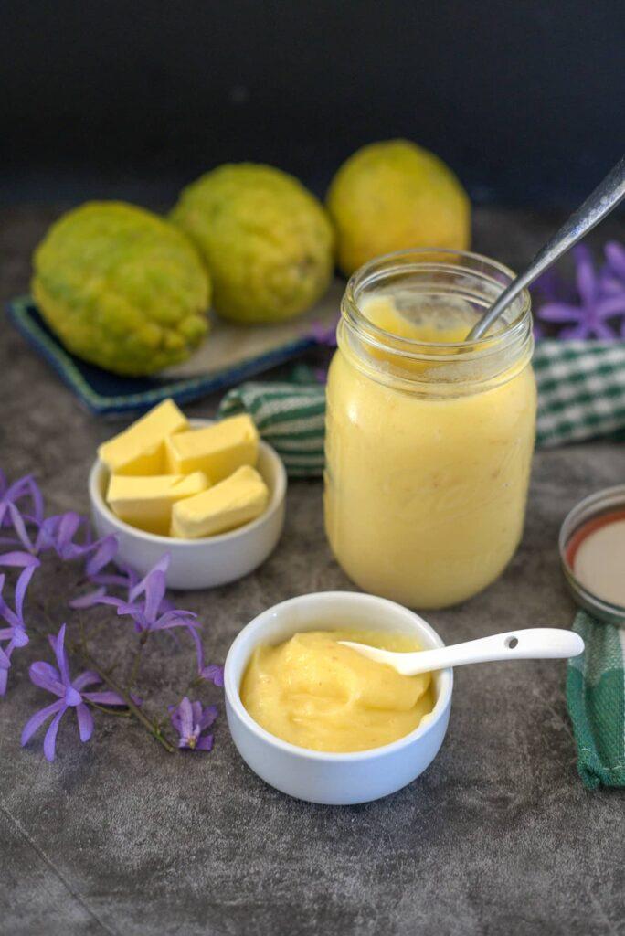lemon curd in a jar
