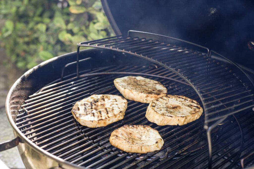 celeriac steaks on a grill