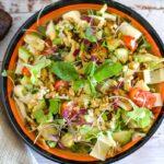 avocado and palm hearts salad on a plate