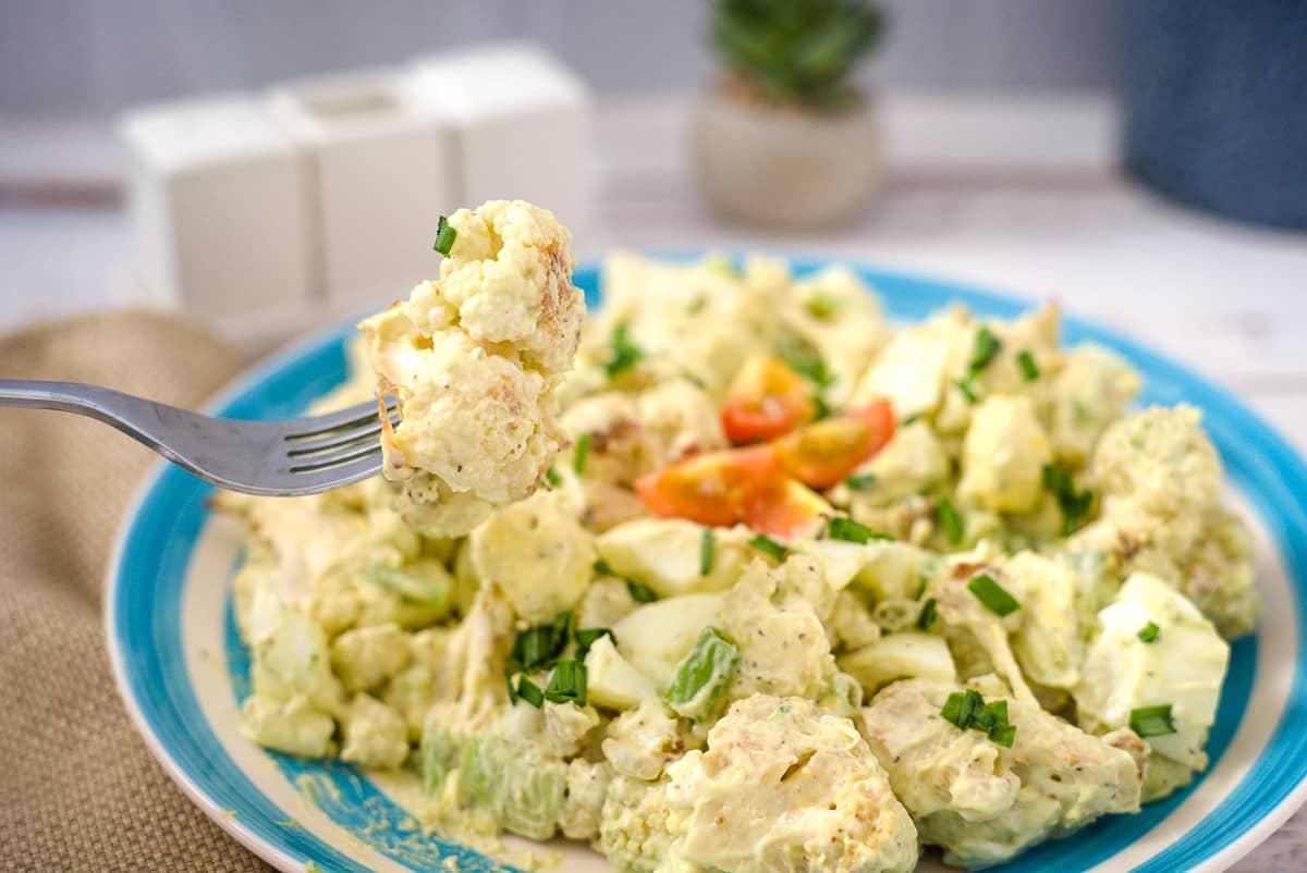 cauliflower salad on a form