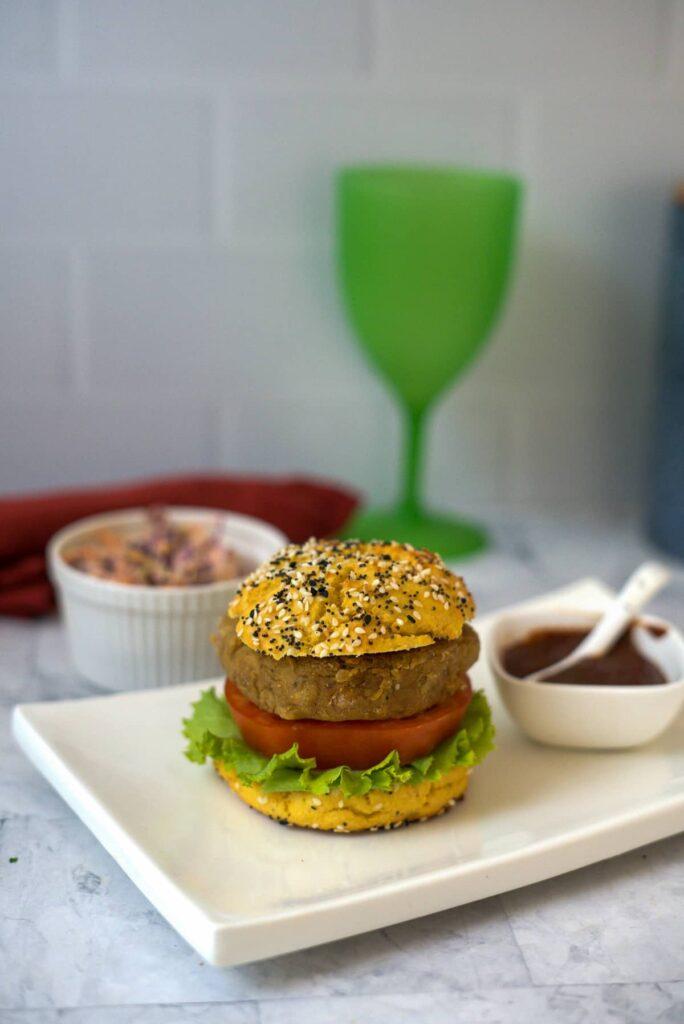 eggplant burgers in a bun.