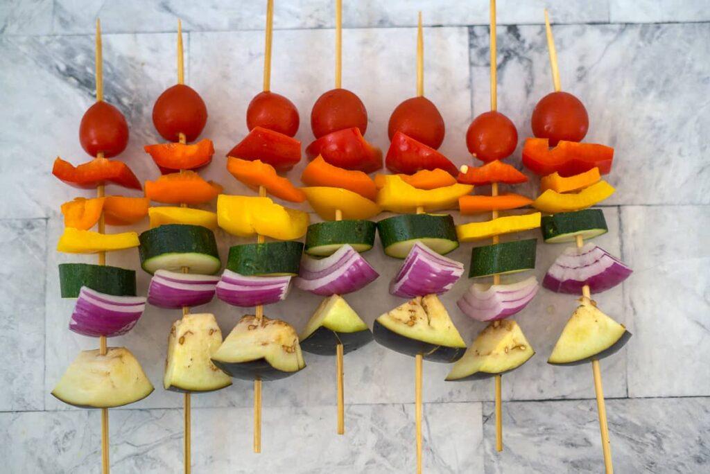 rainbow vegetable kebabs