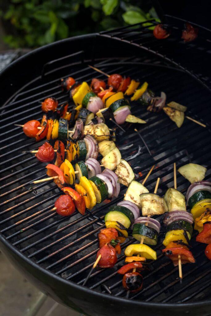 vegetable kebabs on grill