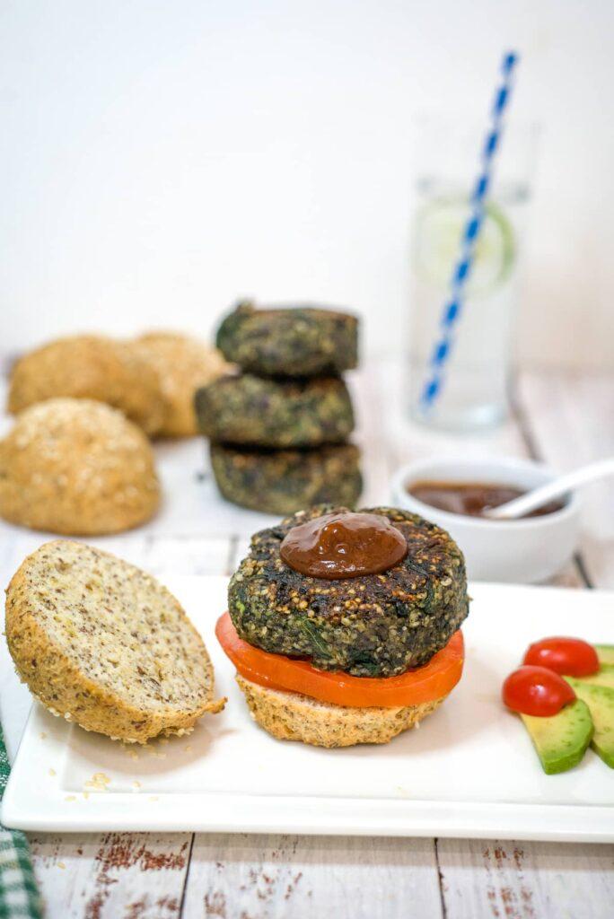 mushroom burger on bun with sauce