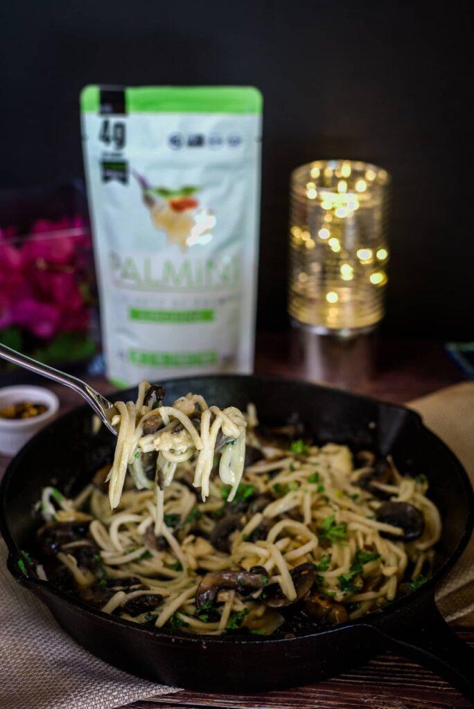 mushroom brie palmini noodles